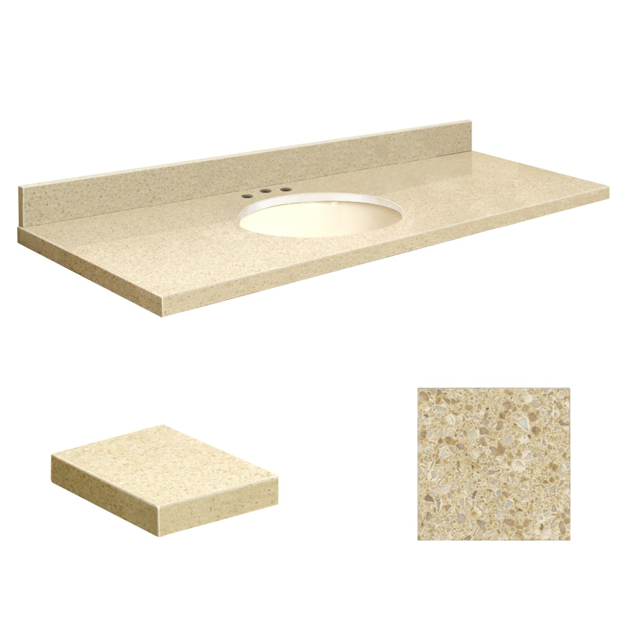 Transolid Nature's Path Quartz Undermount Single Sink Bathroom Vanity Top (Common: 61-in x 22-in; Actual: 61-in x 22-in)