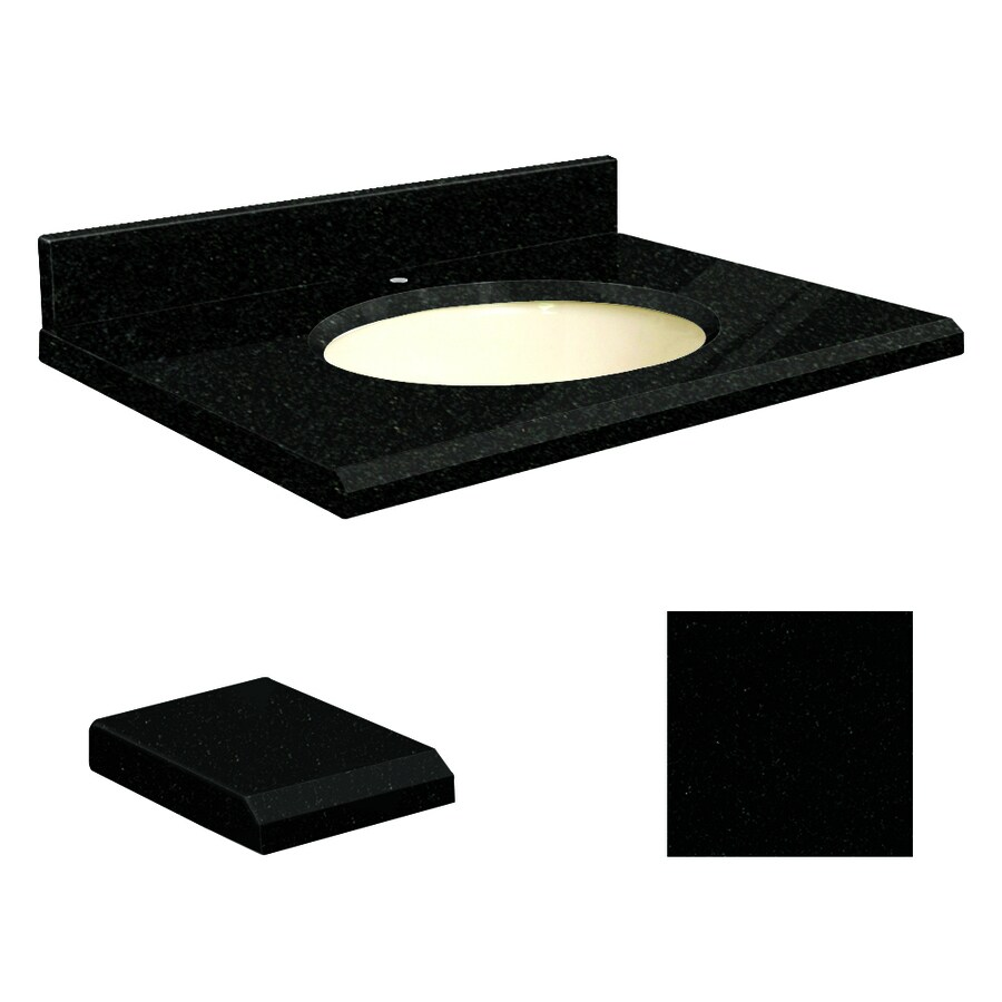 Transolid Absolute Black Granite Undermount Single Sink Bathroom Vanity Top (Common: 31-in x 19-in; Actual: 31-in x 19-in)