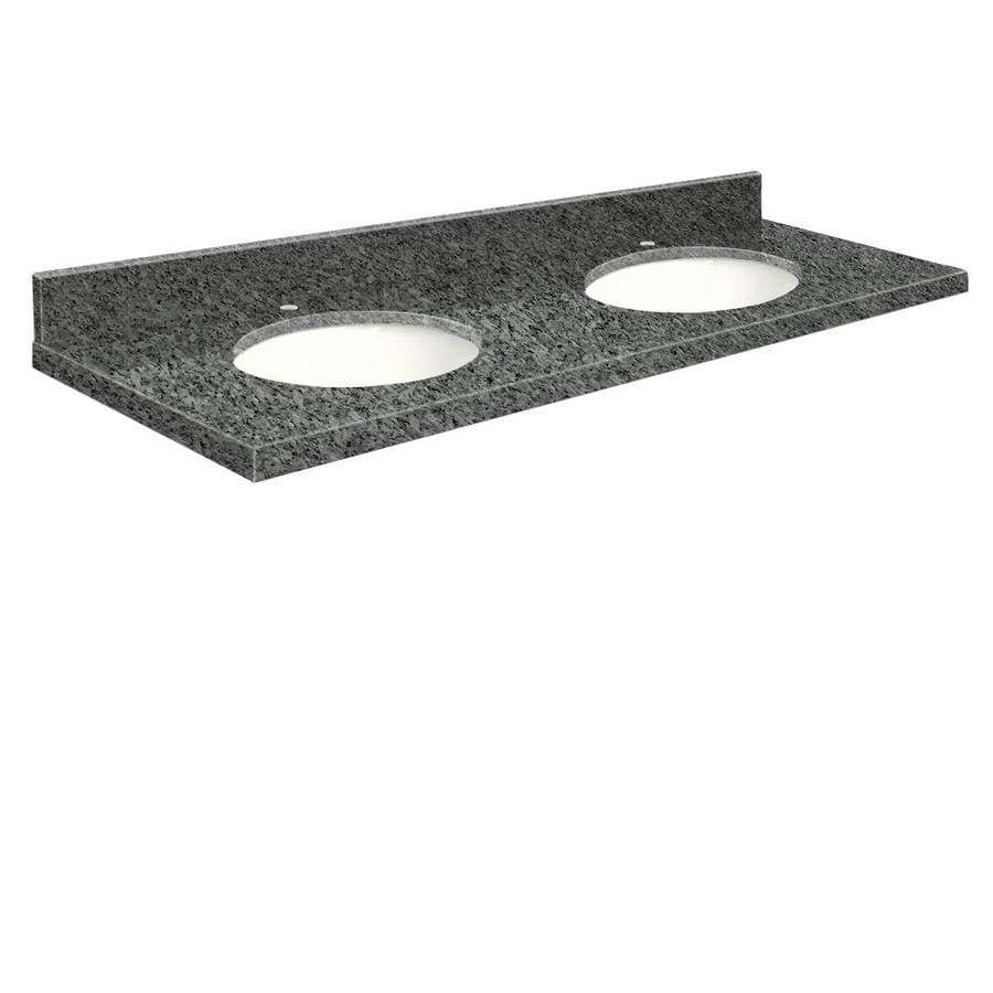 Transolid Blue Pearl Granite Undermount Double Sink Bathroom Vanity Top (Common: 61-in x 22-in; Actual: 61-in x 22-in)