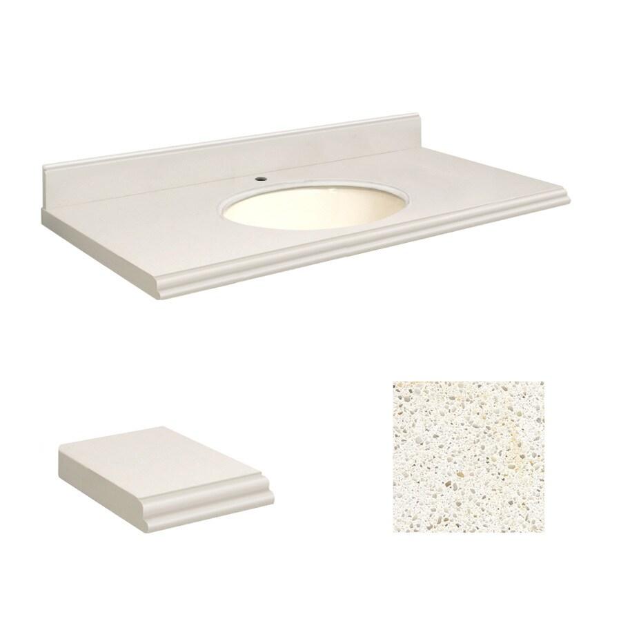 Transolid Milan White Quartz Undermount Single Sink Bathroom Vanity Top (Common: 43-in x 22-in; Actual: 43-in x 22.25-in)