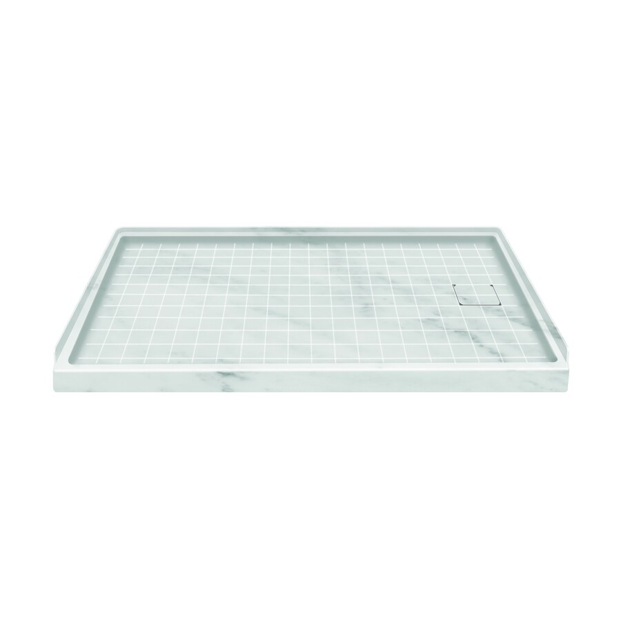 Style Selections White Carrara Solid Surface Shower Base Common 32 In X 60