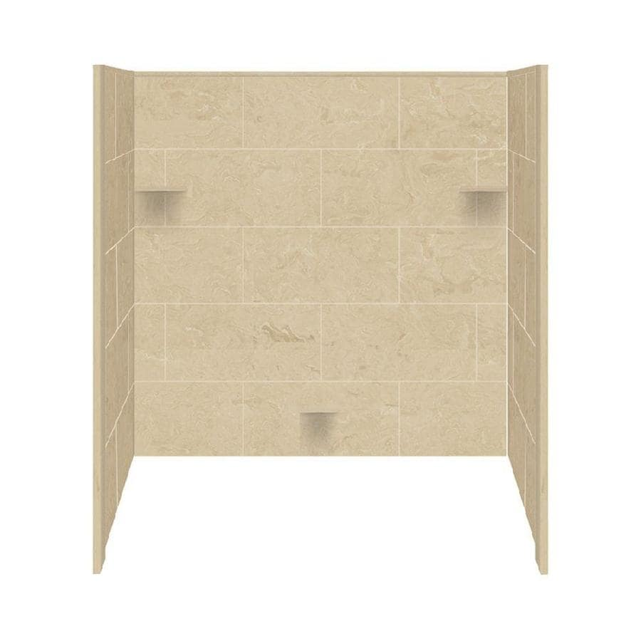 Style Selections Almond Sky Solid Surface Bathtub Wall Surround (Common: 32-in x 60-in; Actual: 60-in x 32-in x 60-in)