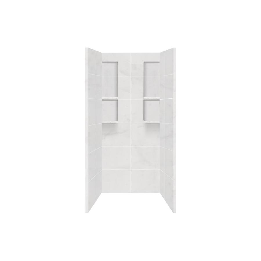 Style Selections White Carrara Shower Wall Surround Side and Back Panels (Common: 36-in x 36-in; Actual: 80-in x 36-in x 36-in)