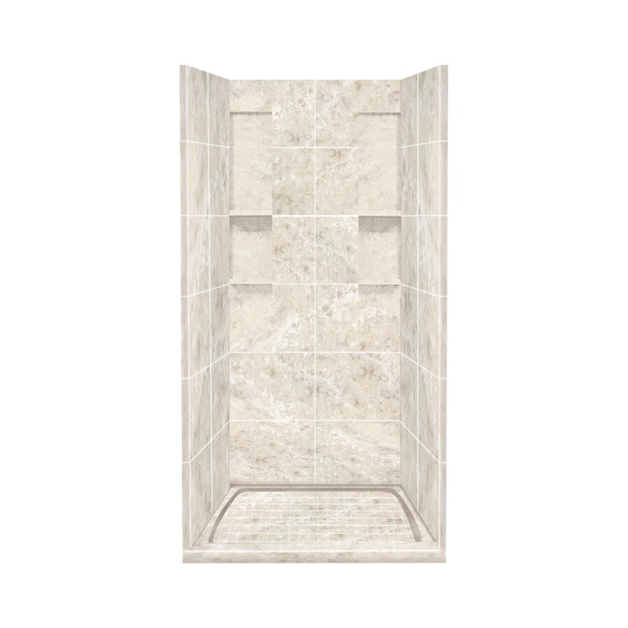 Style Selections Silver Mocha Solid Surface Wall and Floor 4-Piece Alcove Shower Kit (Common: 36-in x 36-in; Actual: 83-in x 36-in x 36-in)