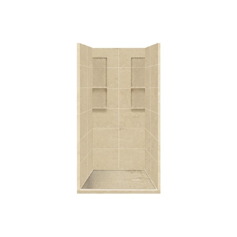 Style Selections Almond Sky Solid Surface Wall and Floor 4-Piece Alcove Shower Kit (Common: 36-in x 36-in; Actual: 83-in x 36-in x 36-in)