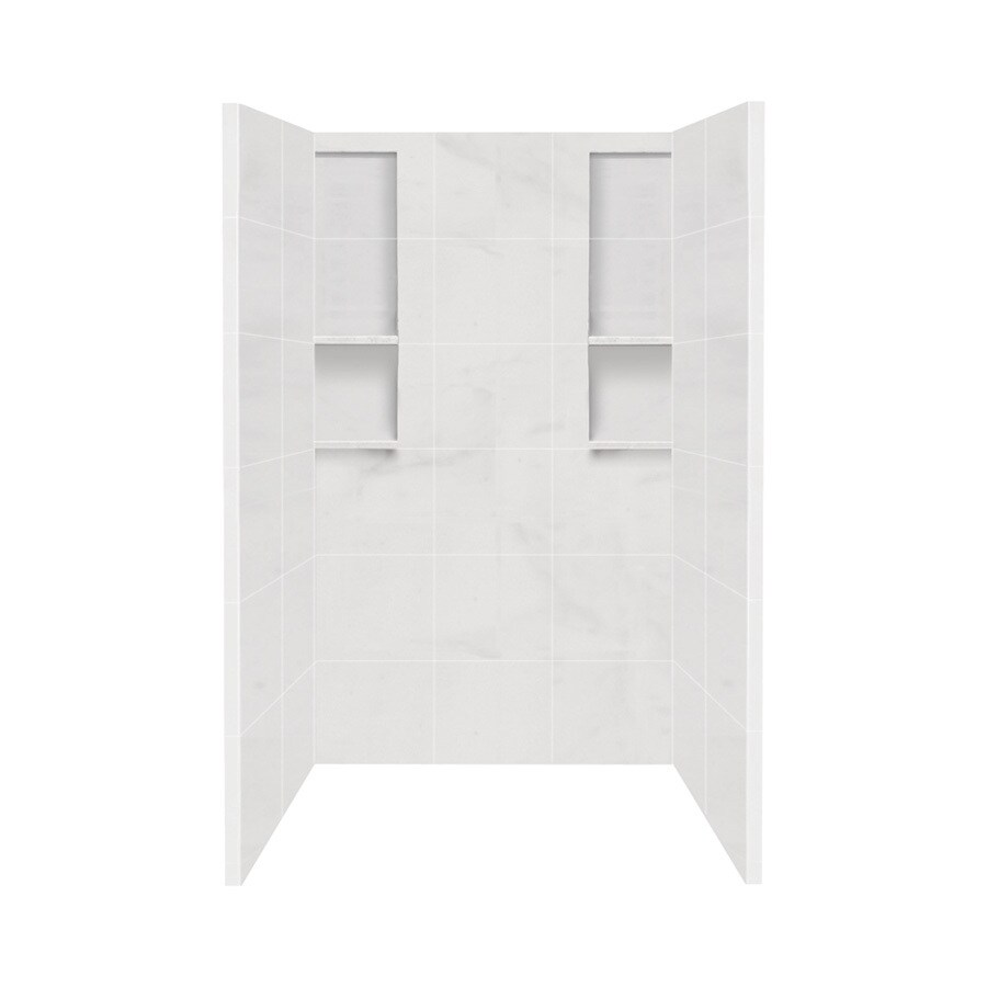 Style Selections White Carrara Shower Wall Surround Side and Back Wall Kit (Common: 34-in x 48-in; Actual: 80-in x 34-in x 48-in)