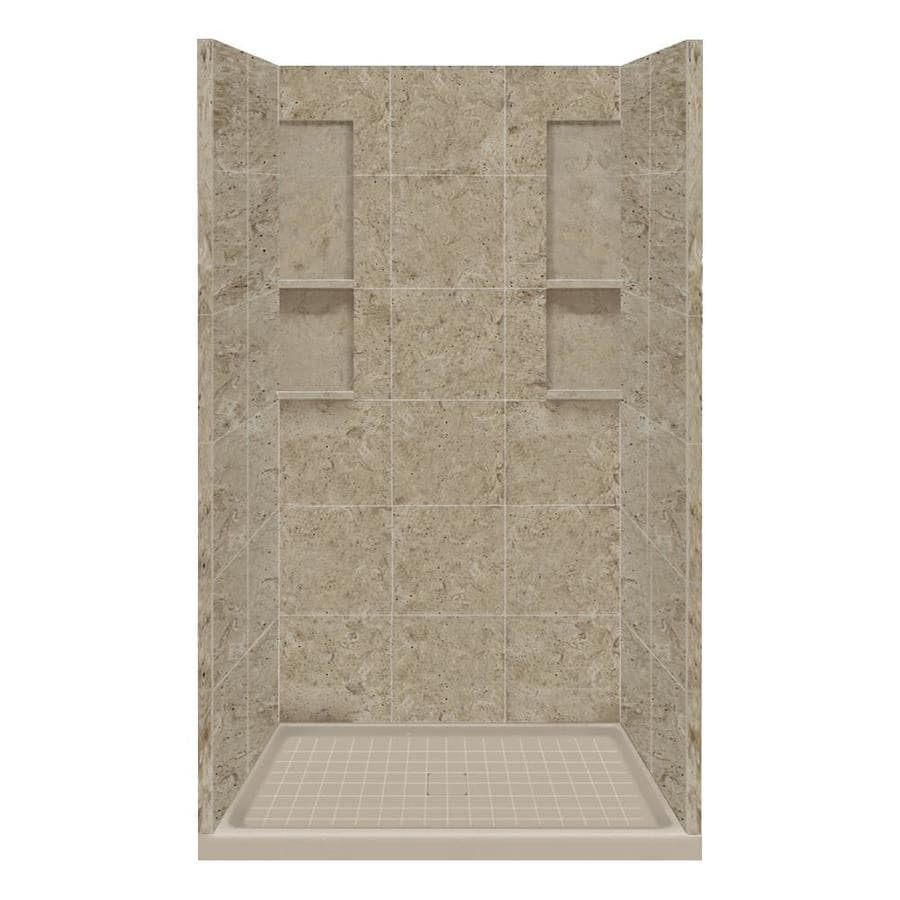 Style Selections Sand Mountain Solid Surface Wall and Floor 4-Piece Alcove Shower Kit (Common: 34-in x 48-in; Actual: 83-in x 34-in x 48-in)