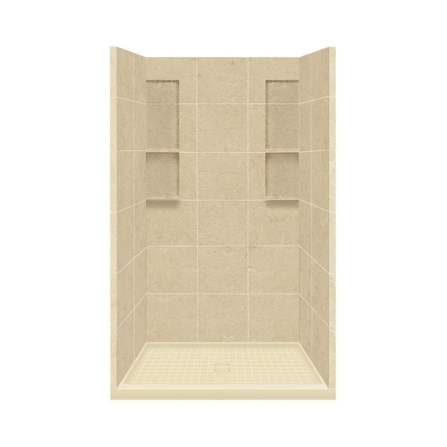 Style Selections Almond Sky Solid Surface Wall and Floor 4-Piece Alcove Shower Kit (Common: 34-in x 48-in; Actual: 83-in x 34-in x 48-in)