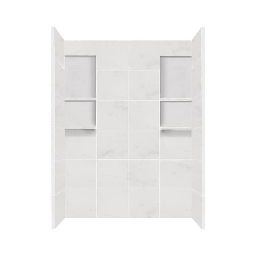 Shop Style Selections White Carrara Solid Surface Shower Wall ...