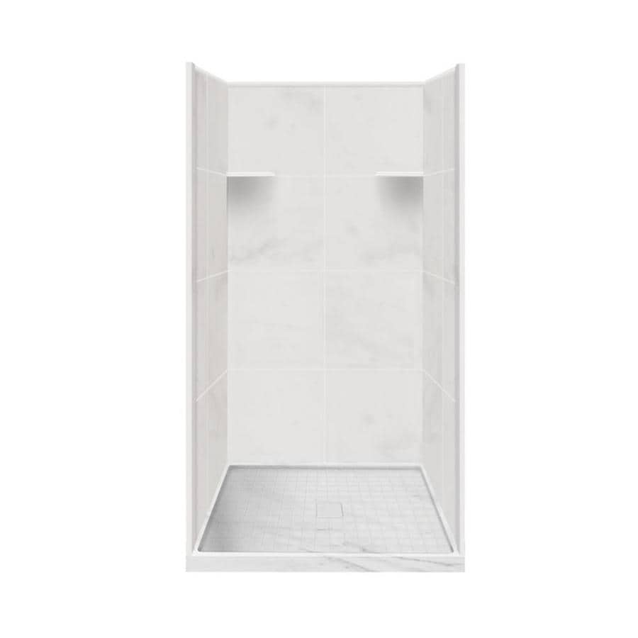 Style Selections White Carrara 4-Piece Alcove Shower Kit (Common: 36-in x 36-in; Actual: 36-in x 36-in)