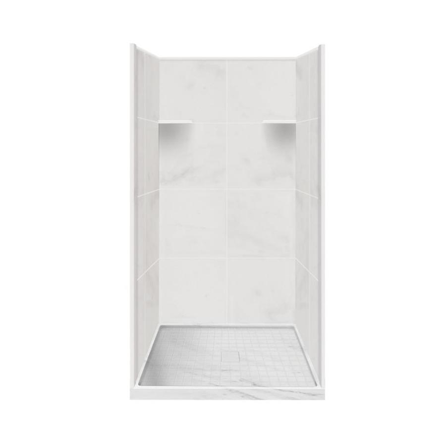 Style Selections White Carrara Solid Surface Wall and Floor 4-Piece Alcove Shower Kit (Common: 36-in x 36-in; Actual: 75-in x 36-in x 36-in)