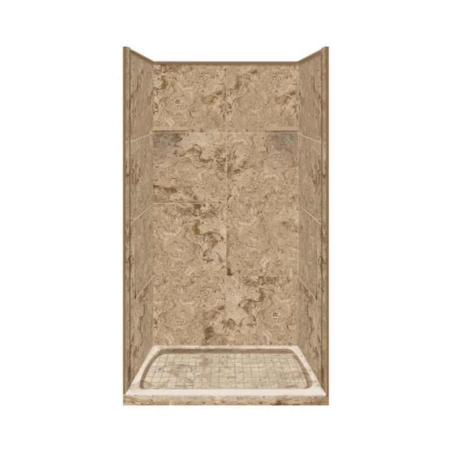 Style Selections Sand Mountain Solid Surface Wall and Floor 4-Piece Alcove Shower Kit (Common: 36-in x 36-in; Actual: 75-in x 36-in x 36-in)