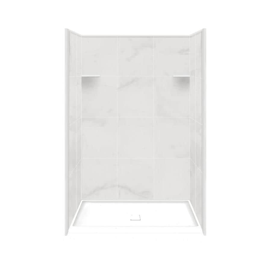 Style Selections White Carrara 4 Piece Alcove Shower Kit