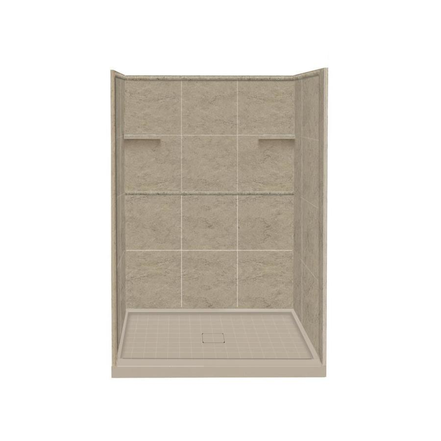 Style Selections Sand Mountain Solid Surface Wall and Floor 4-Piece Alcove Shower Kit (Common: 34-in x 48-in; Actual: 75-in x 34-in x 48-in)