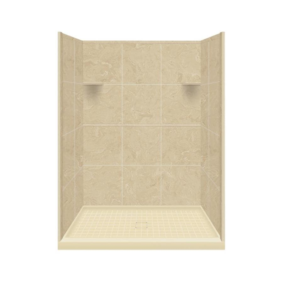 Style Selections Almond Sky Solid Surface Wall and Floor 4-Piece Alcove Shower Kit (Common: 34-in x 48-in; Actual: 75-in x 34-in x 48-in)