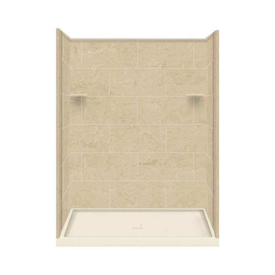 Style Selections Almond Sky Solid Surface Wall and Floor 4-Piece Alcove Shower Kit (Common: 36-in x 60-in; Actual: 75-in x 36-in x 60-in)