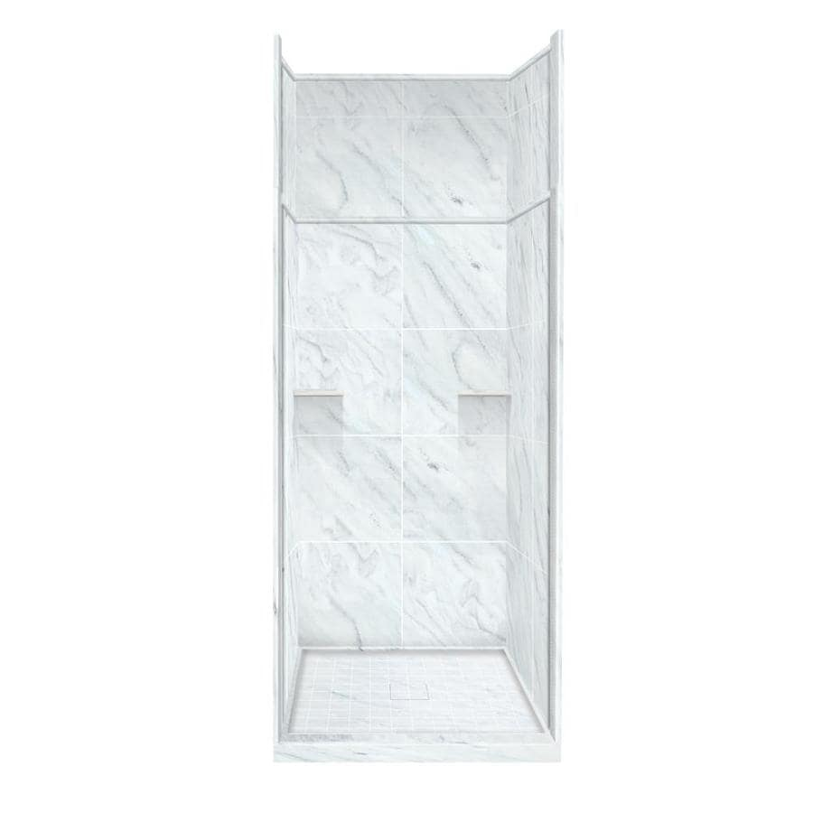 Style Selections White Carrara Solid Surface Wall and Floor 5-Piece Alcove Shower Kit (Common: 36-in x 36-in; Actual: 99-in x 36-in x 36-in)