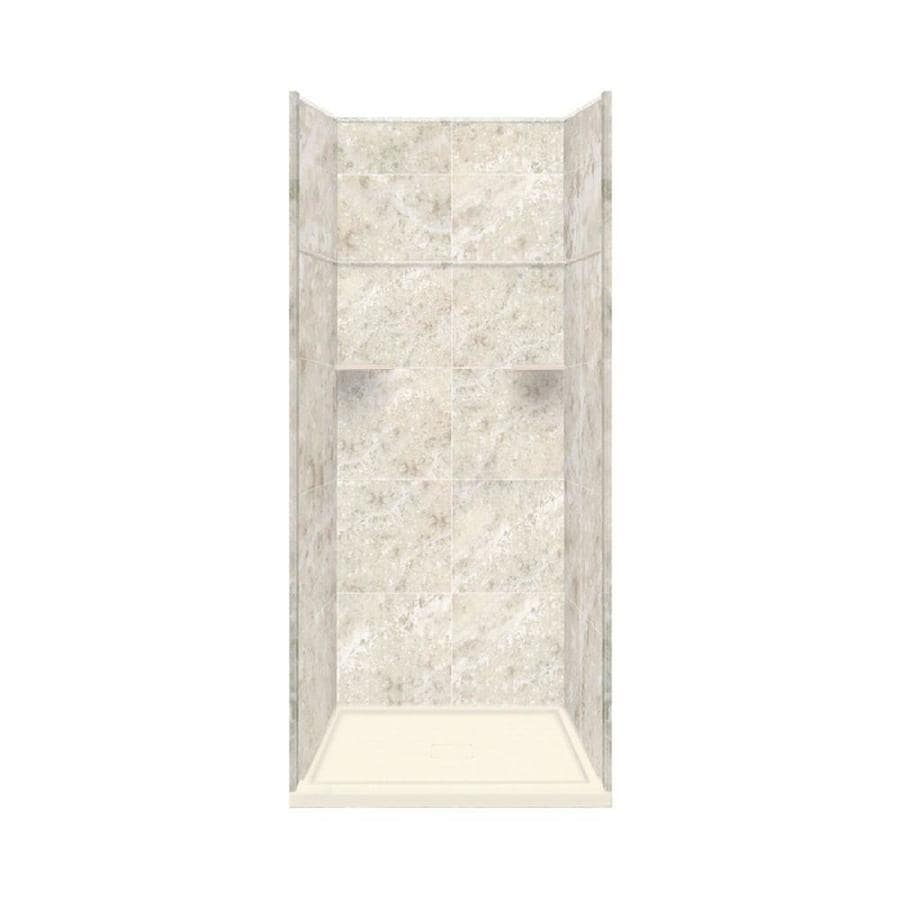 Style Selections Silver Mocha Solid Surface Wall and Floor 5-Piece Alcove Shower Kit (Common: 36-in x 36-in; Actual: 99-in x 36-in x 36-in)