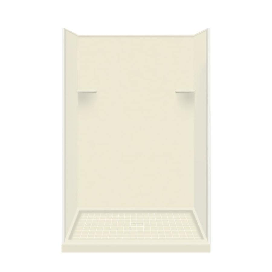 Style Selections Biscuit Solid Surface Wall and Floor 4-Piece Alcove Shower Kit (Common: 34-in x 48-in; Actual: 75-in x 34-in x 48-in)