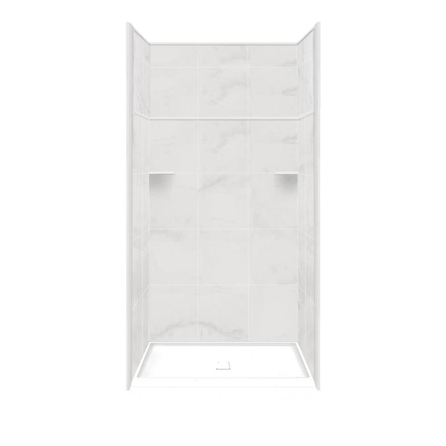 Style Selections White Carrara Solid Surface Wall and Floor 5-Piece Alcove Shower Kit (Common: 34-in x 48-in; Actual: 99-in x 34-in x 48-in)
