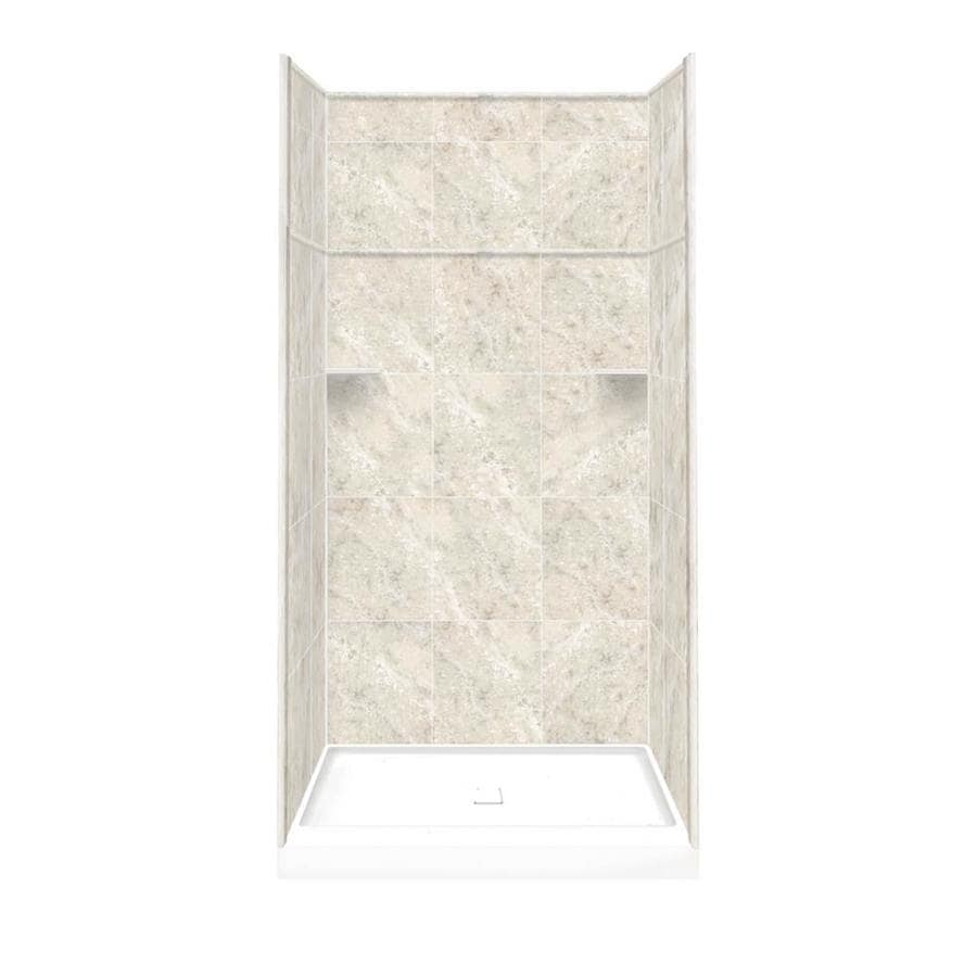 Style Selections Silver Mocha Solid Surface Wall and Floor 5-Piece Alcove Shower Kit (Common: 34-in x 48-in; Actual: 99-in x 34-in x 48-in)