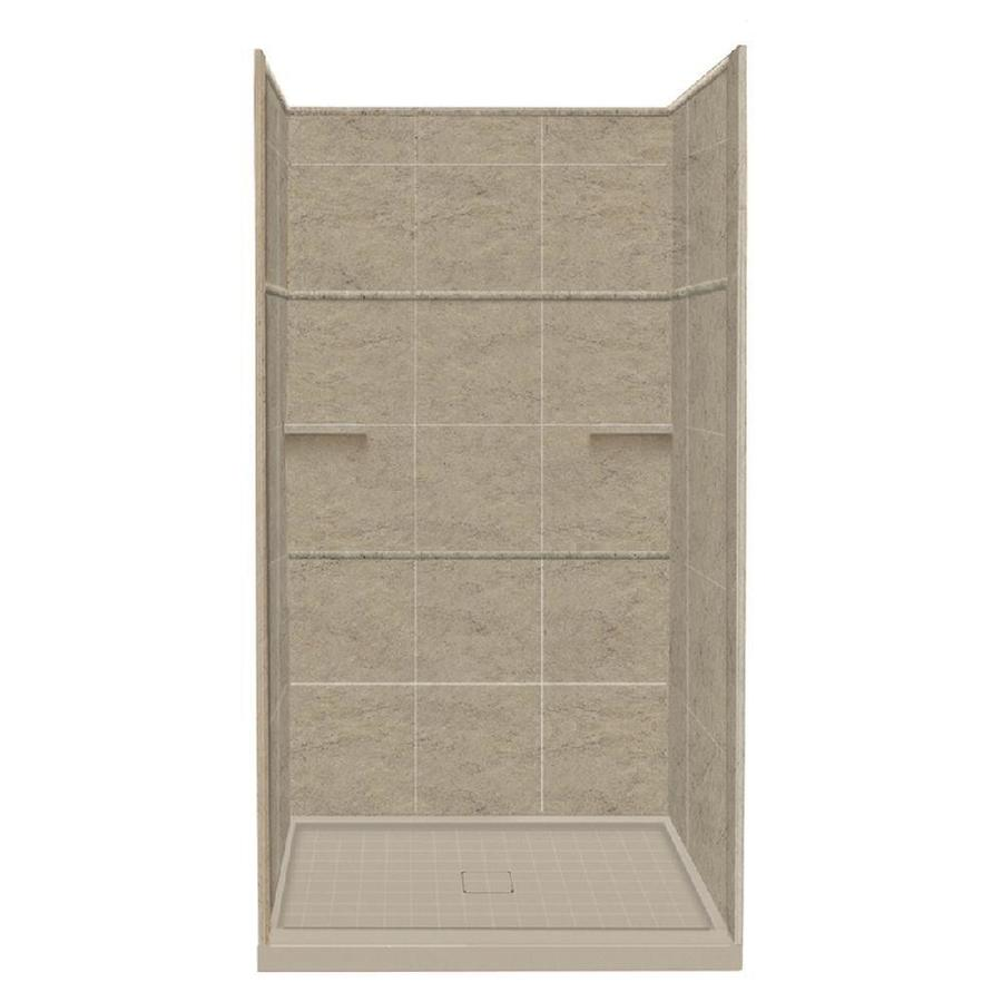 Style Selections Sand Mountain Solid Surface Wall and Floor 5-Piece Alcove Shower Kit (Common: 34-in x 48-in; Actual: 99-in x 34-in x 48-in)