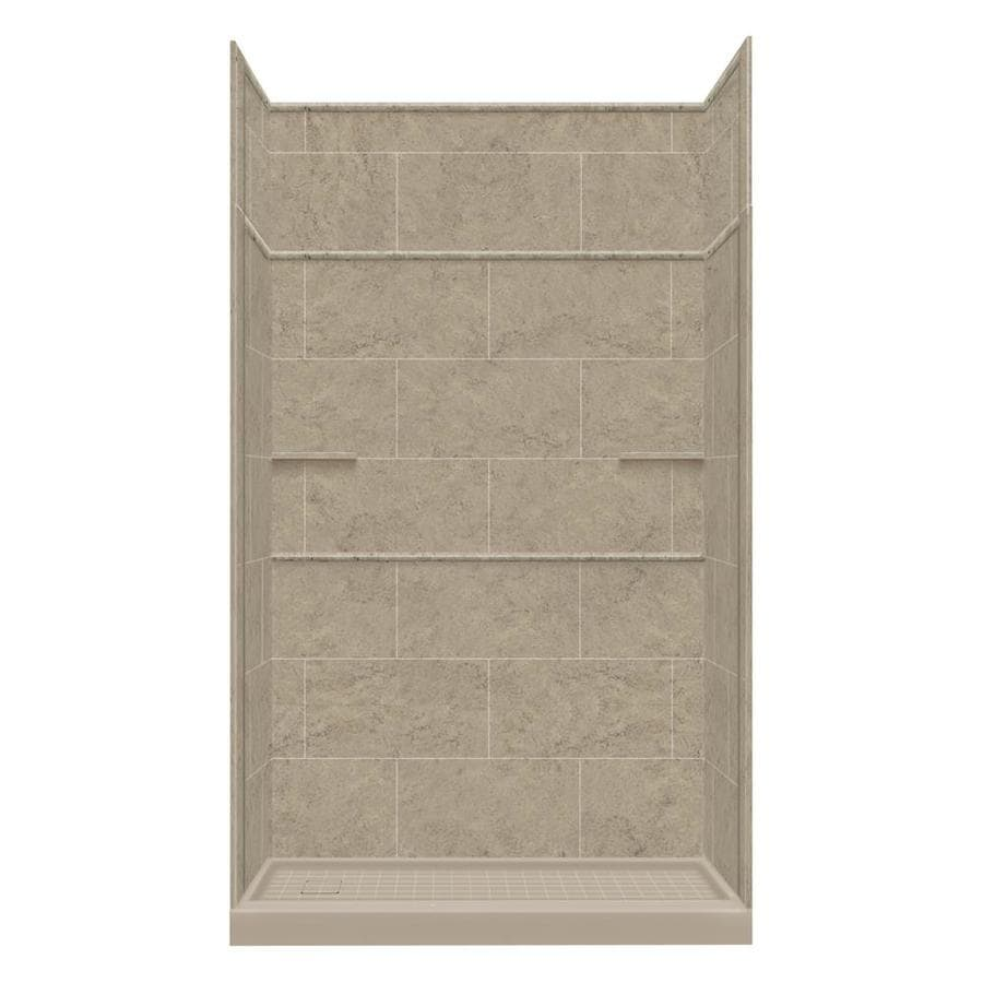 Style Selections Sand Mountain Solid Surface Wall and Floor 5-Piece Alcove Shower Kit (Common: 30-in x 60-in; Actual: 99-in x 30-in x 60-in)