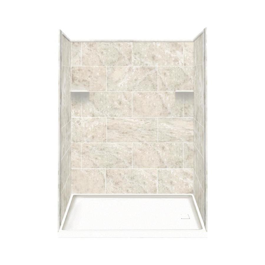 Style Selections Silver Mocha Solid Surface Wall and Floor 4-Piece Alcove Shower Kit (Common: 30-in x 60-in; Actual: 75-in x 30-in x 60-in)