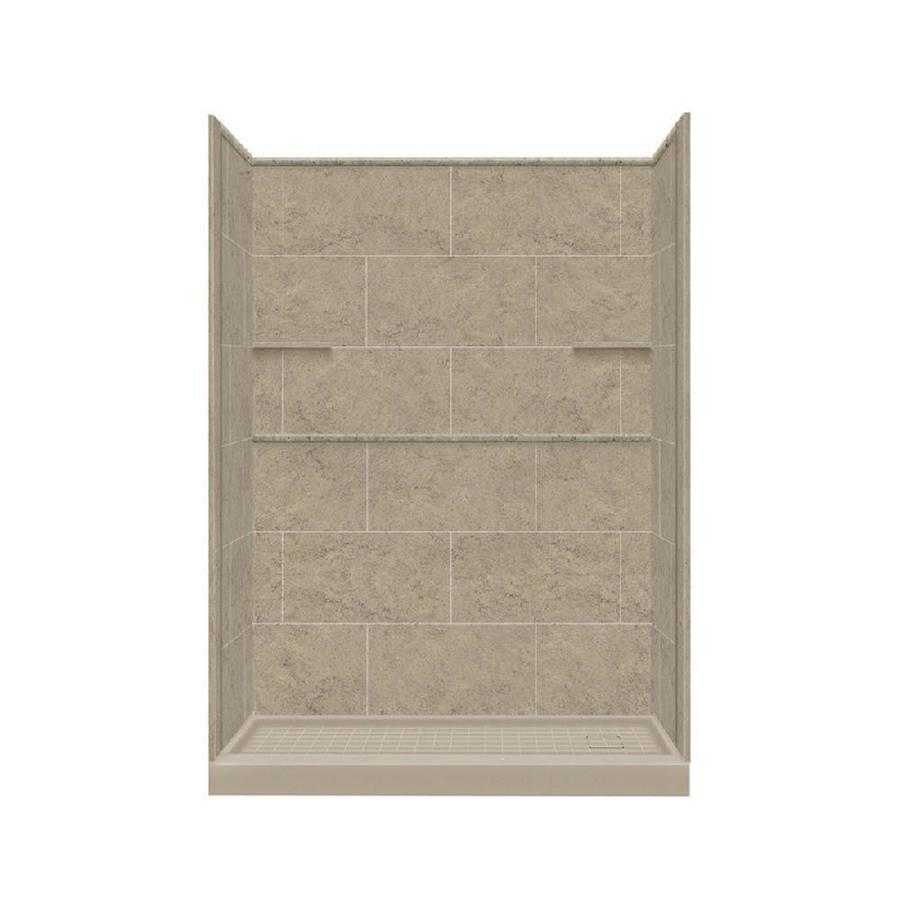 Style Selections Sand Mountain Solid Surface Wall and Floor 4-Piece Alcove Shower Kit (Common: 30-in x 60-in; Actual: 75-in x 30-in x 60-in)