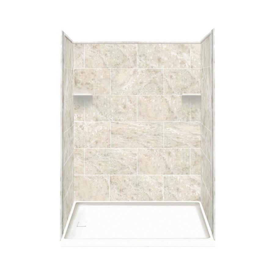 Style Selections Silver Mocha Solid Surface Wall and Floor 4-Piece Alcove Shower Kit (Common: 32-in x 60-in; Actual: 75-in x 32-in x 60-in)