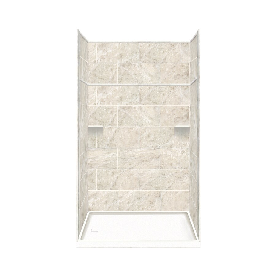 Style Selections Silver Mocha Solid Surface Wall and Floor 5-Piece Alcove Shower Kit (Common: 32-in x 60-in; Actual: 99-in x 32-in x 60-in)