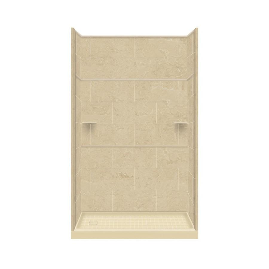 Style Selections Almond Sky Solid Surface Wall and Floor 5-Piece Alcove Shower Kit (Common: 32-in x 60-in; Actual: 99-in x 32-in x 60-in)