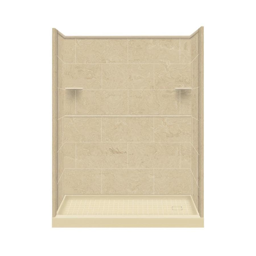 Style Selections Almond Sky Solid Surface Wall and Floor 4-Piece Alcove Shower Kit (Common: 32-in x 60-in; Actual: 75-in x 32-in x 60-in)