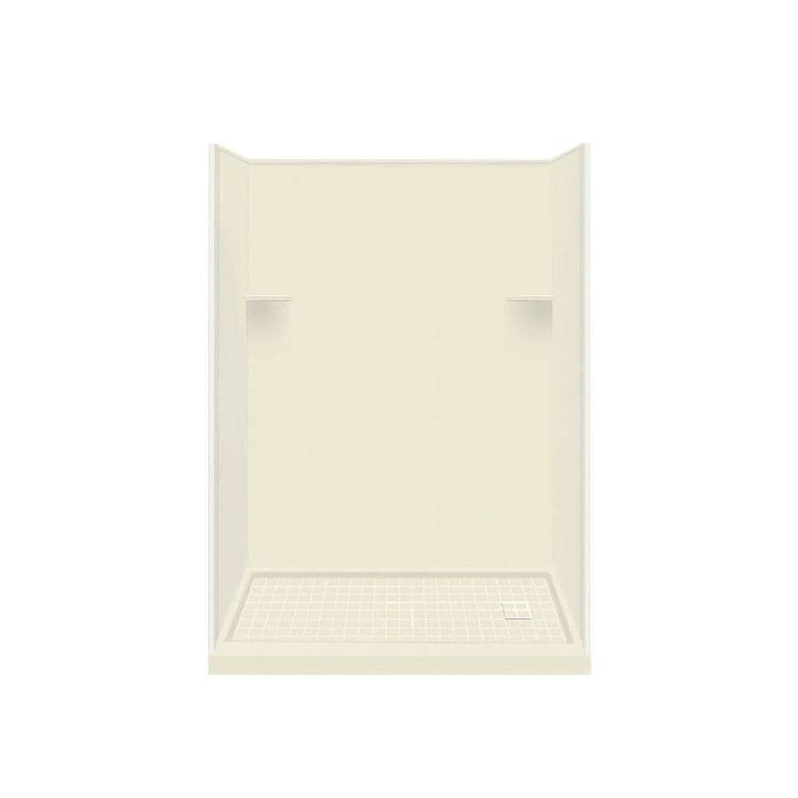 Style Selections Biscuit Solid Surface Wall and Floor 4-Piece Alcove Shower Kit (Common: 32-in x 60-in; Actual: 75-in x 32-in x 60-in)