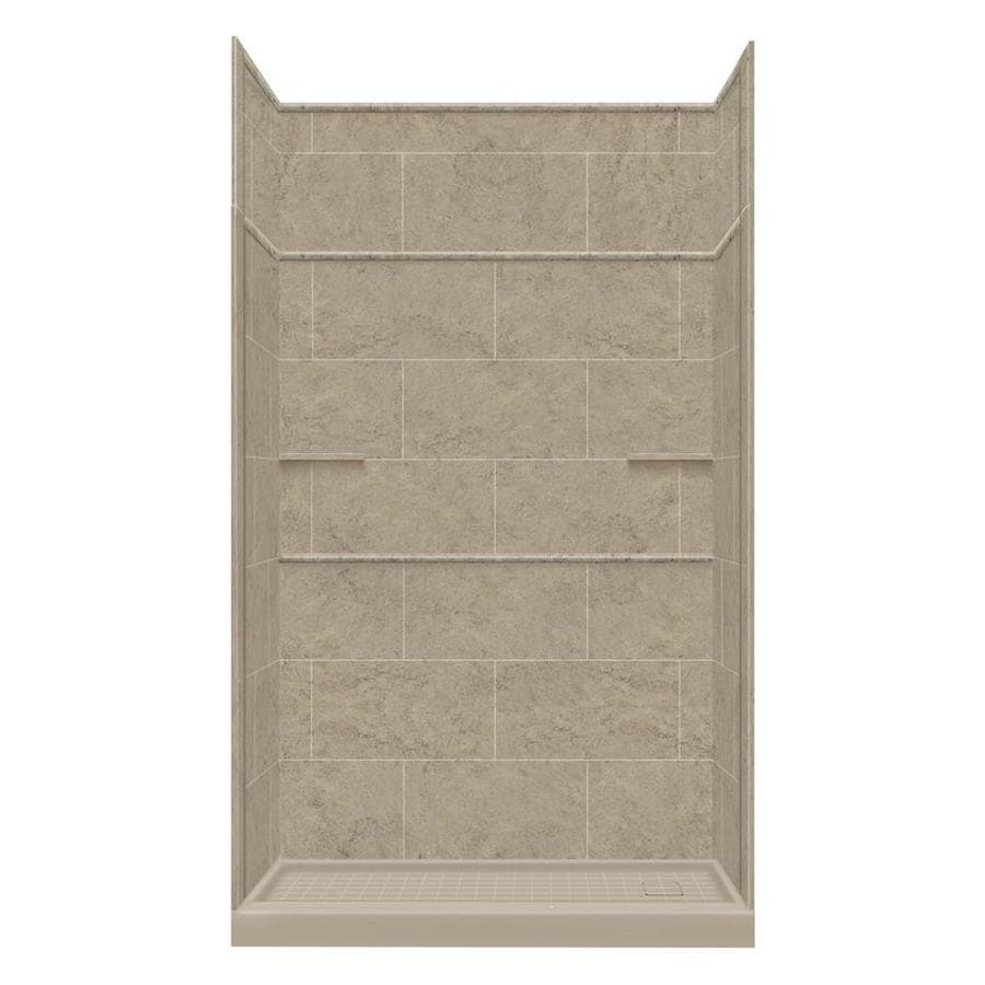 Style Selections Sand Mountain Solid Surface Wall and Floor 5-Piece Alcove Shower Kit (Common: 32-in x 60-in; Actual: 99-in x 32-in x 60-in)