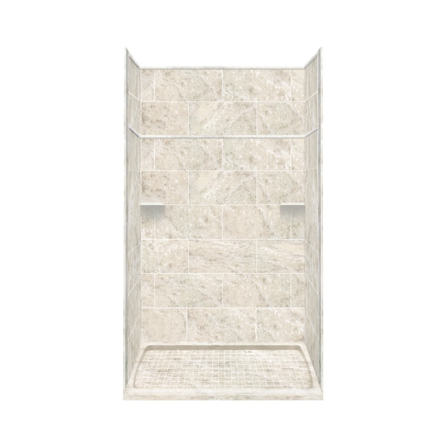 Style Selections Silver Mocha Solid Surface Wall and Floor 5-Piece Alcove Shower Kit (Common: 36-in x 60-in; Actual: 99-in x 36-in x 60-in)
