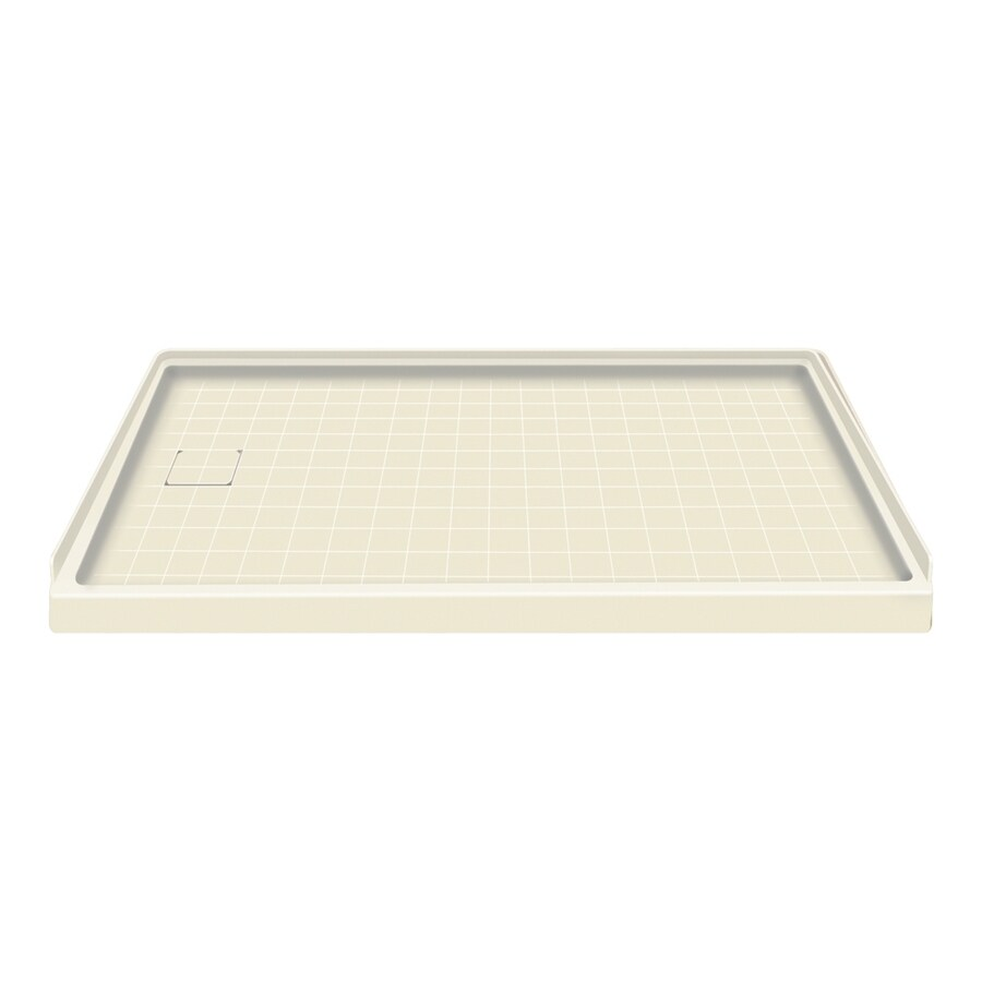 Style Selections Biscuit Solid Surface Shower Base (Common: 30-in W x 60-in L; Actual: 30-in W x 60-in L) with Left Drain