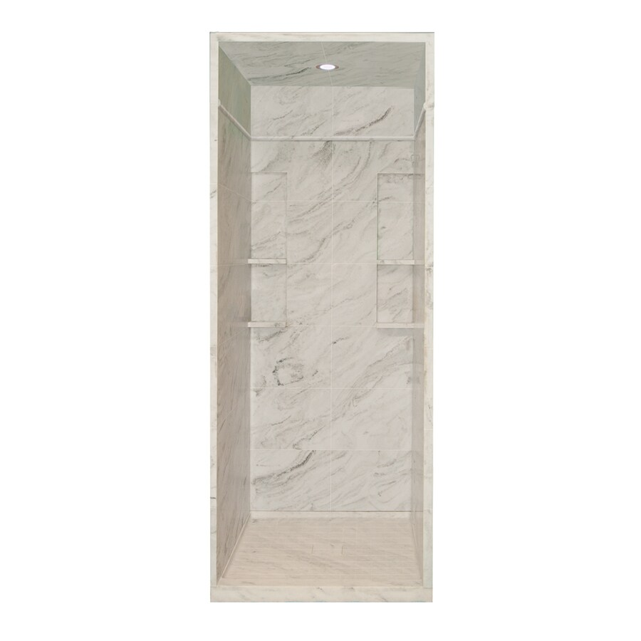 Style Selections White Carrara Solid Surface Wall and Floor 5-Piece Alcove Shower Kit (Common: 36-in x 36-in; Actual: 95.75-in x 36-in x 36-in)