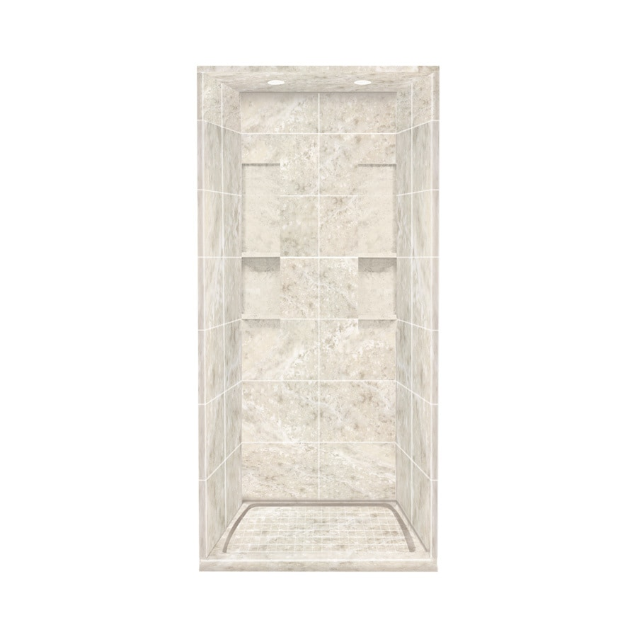 Style Selections Silver Mocha Solid Surface Wall and Floor 5-Piece Alcove Shower Kit (Common: 36-in x 36-in; Actual: 95.75-in x 36-in x 36-in)