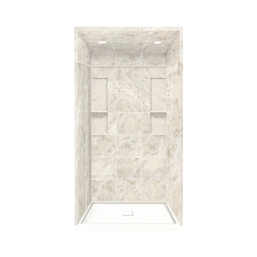 Style Selections Silver Mocha Solid Surface Wall and Floor 5-Piece Alcove Shower Kit (Common: 34-in x 48-in; Actual: 95.75-in x 34-in x 48-in)