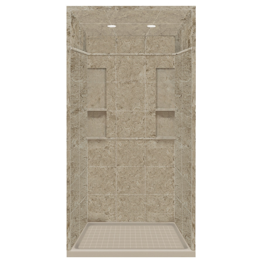 Style Selections Sand Mountain Solid Surface Wall and Floor 5-Piece Alcove Shower Kit (Common: 34-in x 48-in; Actual: 95.75-in x 34-in x 48-in)