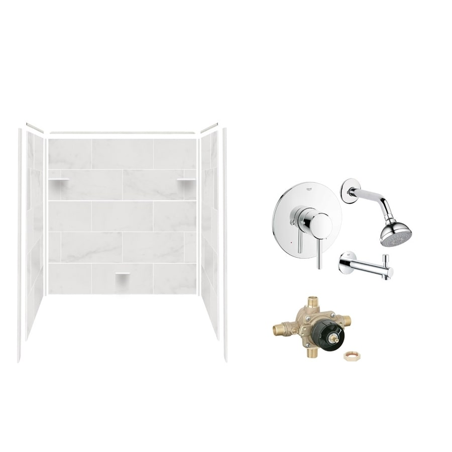 Style Selections White Carrara Solid Surface Bathtub Wall Surround (Common: 32-in x 60-in; Actual: 60-in x 32-in x 60-in)