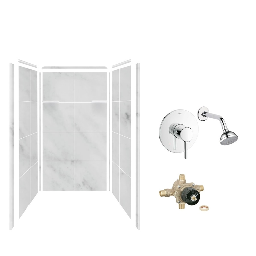 Style Selections White Carrara Shower Wall Surround Side And Back Wall Kit (Common: 36-in x 36-in; Actual: 72-in x 36-in x 36-in)