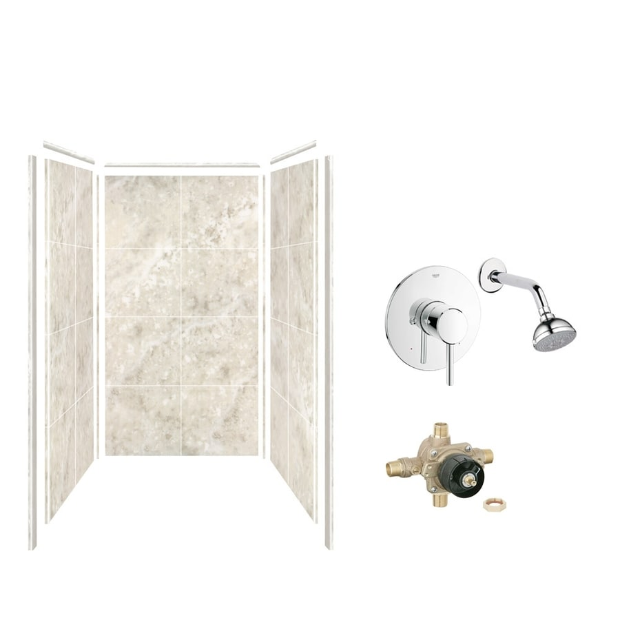 Style Selections Silver Mocha Shower Wall Surround Side And Back Wall Kit (Common: 36-in x 36-in; Actual: 72-in x 36-in x 36-in)