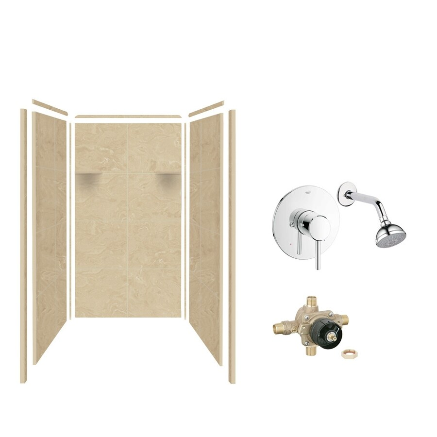 Style Selections Almond Sky Shower Wall Surround Side and Back Panels (Common: 36-in x 36-in; Actual: 72-in x 36-in x 36-in)