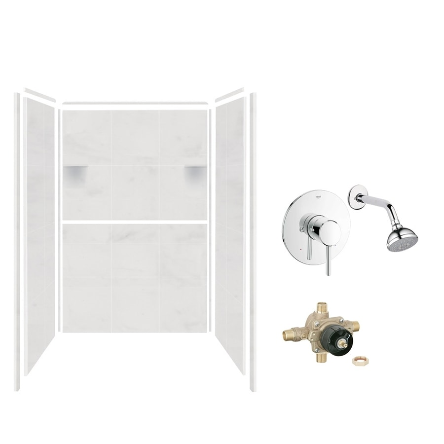 Style Selections White Carrara Shower Wall Surround Side And Back Wall Kit (Common: 36-in x 48-in; Actual: 72-in x 36-in x 48-in)