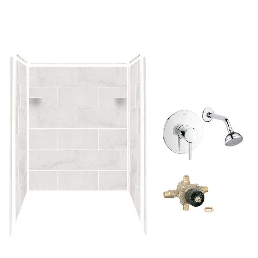 Style Selections White Carrara Shower Wall Surround Side and Back Panels (Common: 36-in x 60-in; Actual: 72-in x 36-in x 60-in)