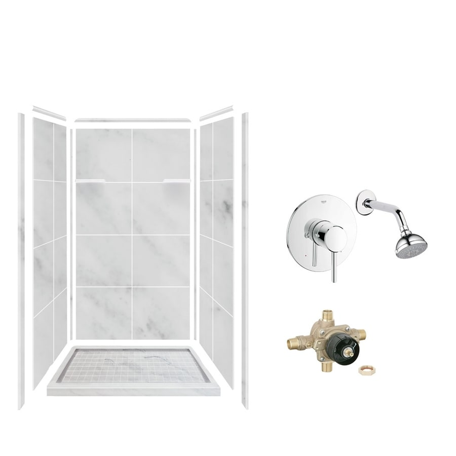 Style Selections White Carrara Solid Surface Wall and Floor 5-Piece Alcove Shower Kit (Common: 36-in x 36-in; Actual: 75-in x 36-in x 36-in)