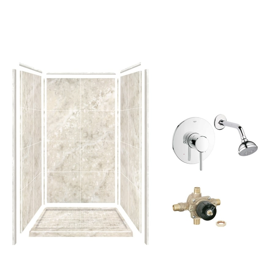 Style Selections Silver Mocha Solid Surface Wall and Floor 5-Piece Alcove Shower Kit (Common: 36-in x 36-in; Actual: 75-in x 36-in x 36-in)