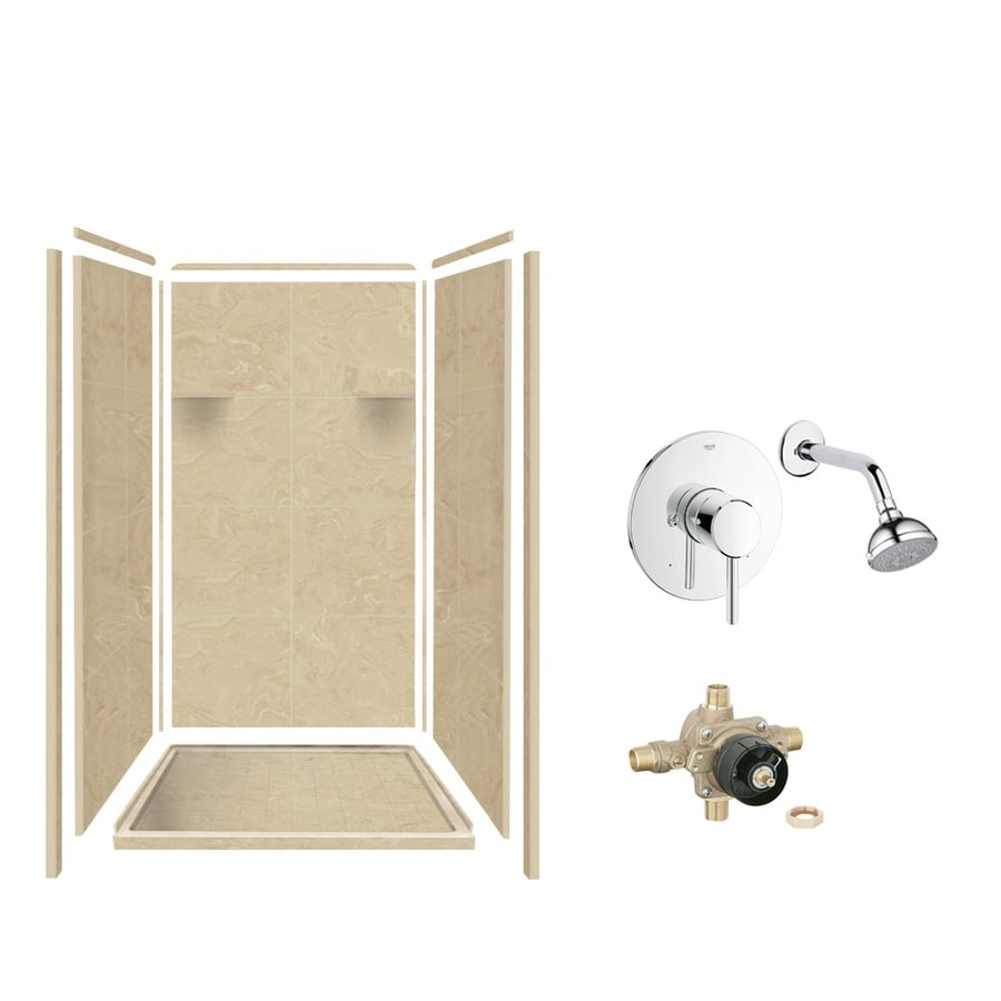 Style Selections Almond Sky Solid Surface Wall and Floor 5-Piece Alcove Shower Kit (Common: 36-in x 36-in; Actual: 75-in x 36-in x 36-in)